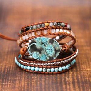 Leather Handmade Mediterranean Sea Wrap Bracelet